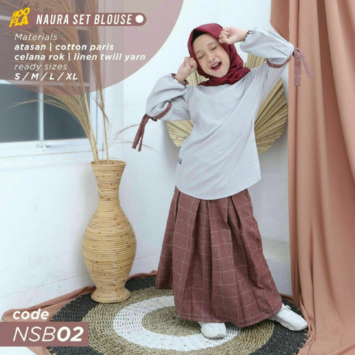 Foto Produk Stelan Rok Naura Set Blouse Hoofla Bahan Cotton Paris Warna Abu Maroon - S dari asheeqaofficial