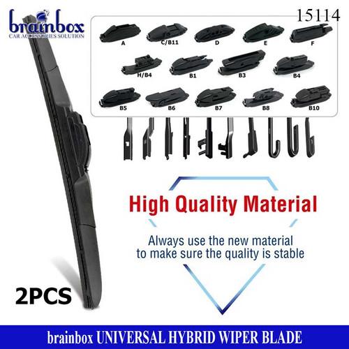 Foto Produk HIGH QUALITY 2 Pcs Hybrid Wiper Blade Universal All Car Model Wiper dari Brainbox Car and Home