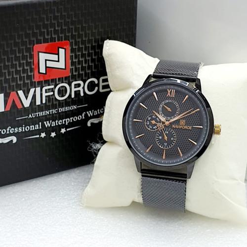 Foto Produk Jam Tangan Pria Naviforce Original Rantai Garansi 1 Tahun - Hitam dari Grosiran Jam Murah