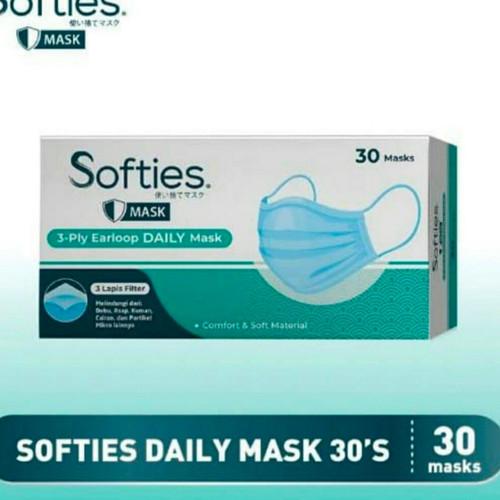 Foto Produk Masker 3 Ply 3 Ply Softies Masker Kesehatan Earloop Disposable 30 Pcs - Daily dari Yogieyo
