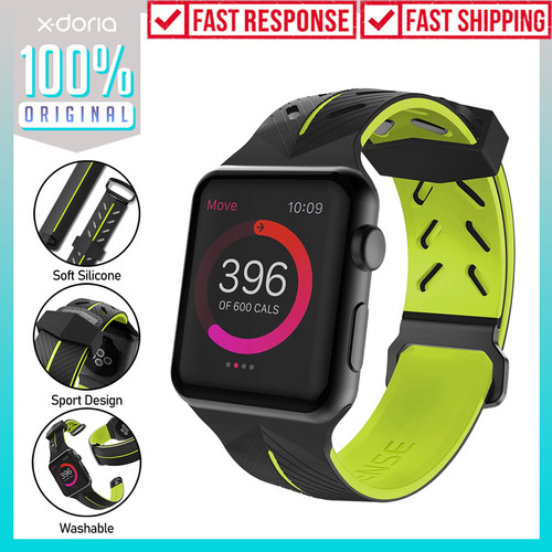 Foto Produk Strap Apple Watch 44mm/42mm X-doria Action Band Silicone Rubber Sport - Black dari Unicase Store