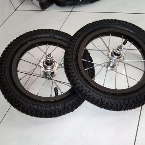 Foto Produk 2 set Roda Depan belakang Sepeda 12 velg jari ruji bos ban luar dalam dari Sekawan Sepeda