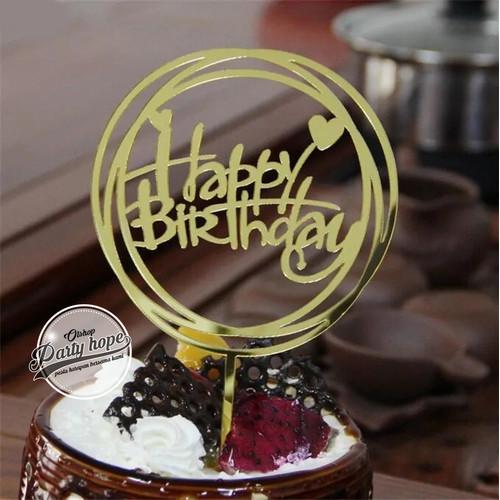 Foto Produk Cake Topper hbd gold / Hiasan Kue Acrylic JUMBO bulat gold / toper kue dari PARTY HOPE 2