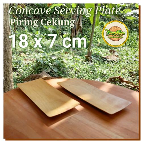 Foto Produk Oshibori towels place, wooden plate 7x18 cm piring kayu panjang nampan dari Sangkayu