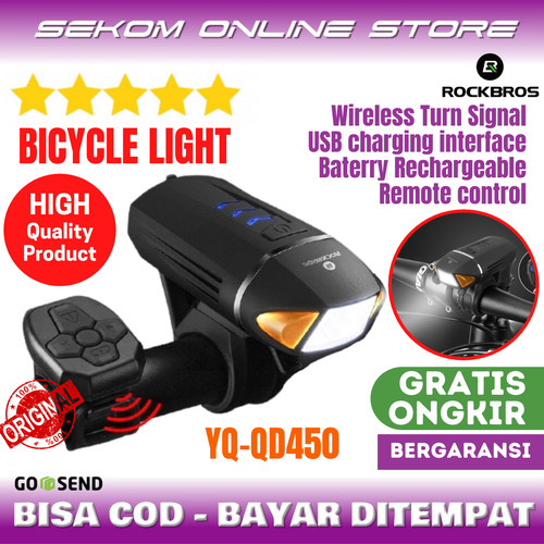 Foto Produk ROCKBROS Bicycle Light Wireless Turn Signal Electric Horn YQ QD450 dari SEKOM ONLINE STORE