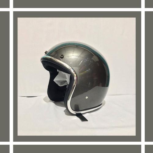 Foto Produk helm retro list chrom abu glossy dari kliwonOnline