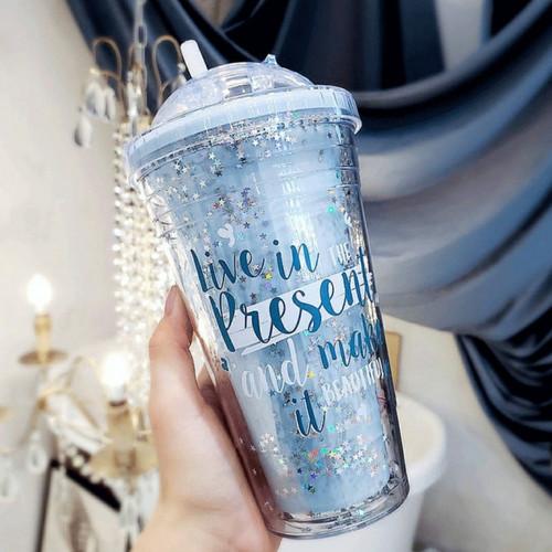 Foto Produk Glitter Tumbler Cups Blink Gelas Botol Minum Air Sedotan 450ml - Biru Muda, BubleWrap dari Togakoga