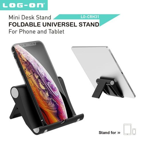 Foto Produk Log On CRH31 Foldable Universal Stand Holder Phone HP premium - Hitam dari Log-on Official Store