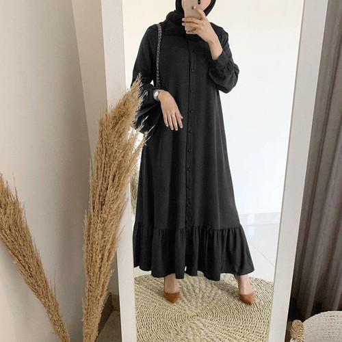 Foto Produk COD Gamis Bella Wanita Bahan Mosscrepe - Hitam dari Tokogo-id