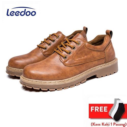 Foto Produk Leedooo Sepatu Casual Pria Sepatu Formal Pantofel Kulit Sintetis MC401 - Cokelat, 39 dari Leedoo