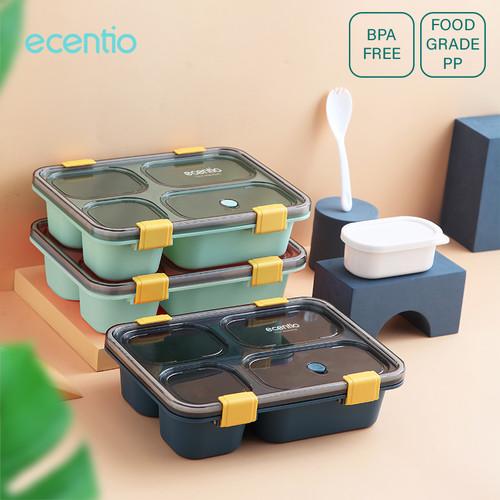 Foto Produk ecentio 1300ml Kotak Makan 4 Grid Dengan Kotak Sup Bawalah sendok - Biru dari ecentio Official Store
