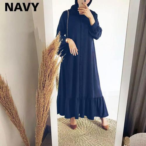 Foto Produk COD Gamis Bella Wanita Bahan Mosscrepe - Navy dari Tokogo-id