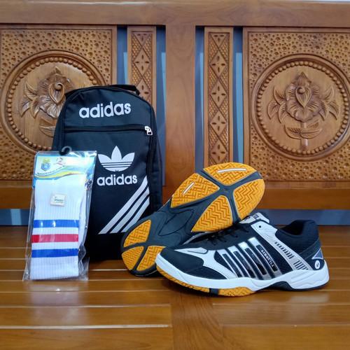 Foto Produk Paket Komplit Sepatu Sport Badminton Airquila Black Original Murah - Hitam, 39 dari Aramintha Shop