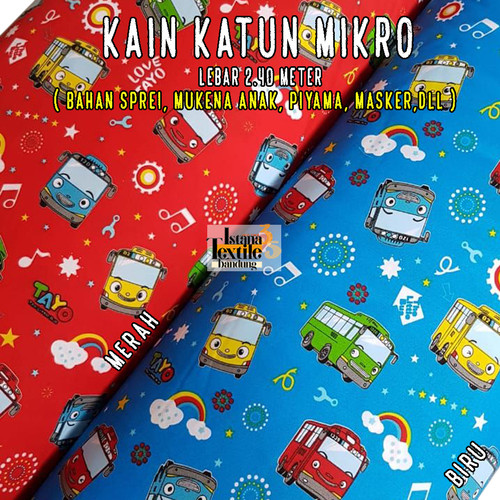 Foto Produk 1/2 meter bahan kain Katun Mikro Micro motif anak Tayo - Merah dari IstanaTextileBdg