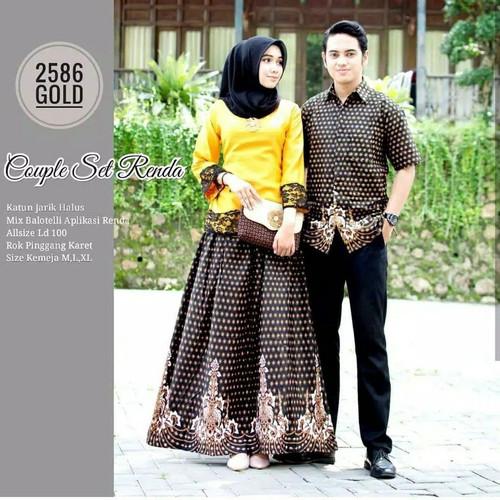 Foto Produk baju couple batik rnb pasangan - Kuning, M dari Alifabatik