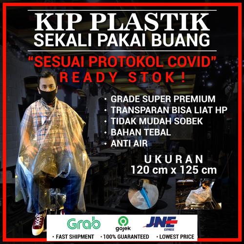 Foto Produk CAPE / kIP BARBER / SALON SEKALI PAKAI , PLASTIK STERIL BEBAS VIRUS - 90 x 130 cm dari Distributor Pomade