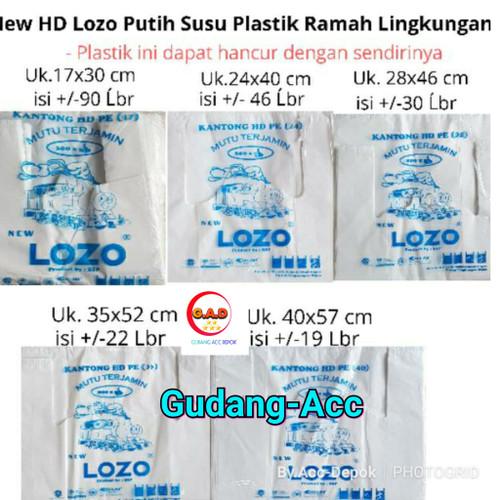 Foto Produk Kantong Plastik Kresek Lozo Tebal Putih Uk 17 24 28 35 40 50 Cm Putih - Lozo putih 40 dari ACC DEPOK