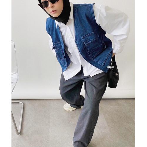 Foto Produk JINISO Vest Jaket Jeans Oversize Blue Denim dari JINISO.ID
