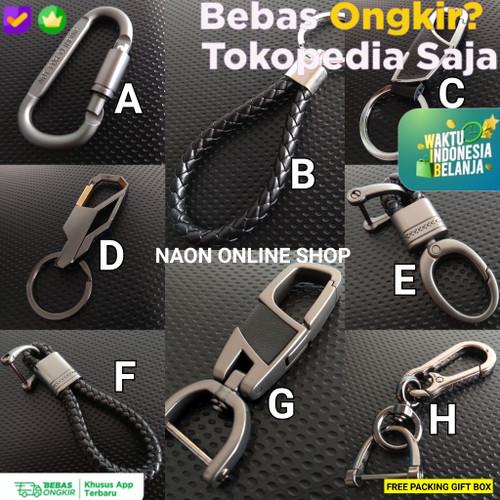 Foto Produk Keychain Metal Leather Gantungan Kunci Pinggang Kulit Asli Motor Mobil - B ROPE dari Naon Online Shop