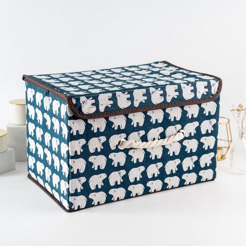 Foto Produk ARAMI Canvas Stackable Storage Box Keranjang Baju Mainan Multi Fungsi - Blue Bear dari Arami Lifestyle