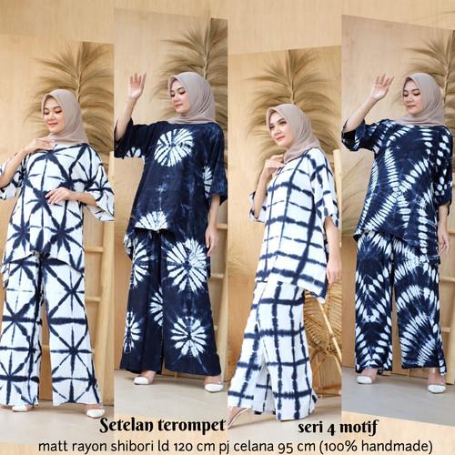 Foto Produk Setelan Blus Terompet Shibori Set Baju Celana Batik Handmade Cantik dari Zerra Batik