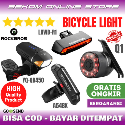 Foto Produk ROCKBROS Bicycle Light Wireless Turn Lampu Sepeda Signal Led Flash dari SEKOM ONLINE STORE