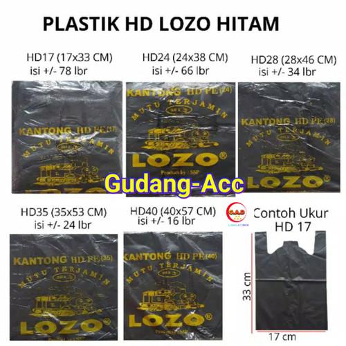 Foto Produk KANTONG PLASTIK KRESEK LOZO TEBAL HITAM UKURAN 17 24 28 35 40 CM - lozo 17cm dari ACC DEPOK
