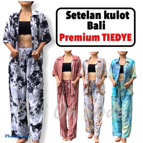 Foto Produk Setelan kulot Tiedye Bali panjang kerah kemeja dari Bali On Mode