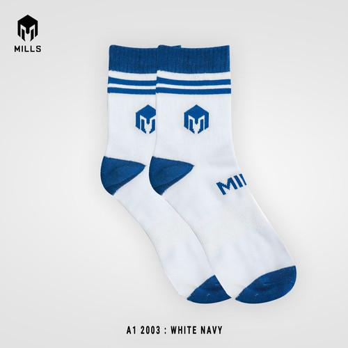 Foto Produk MILLS Kaos Kaki Olahraga Quarter Socks A1 2003 - WHITE - NAVY, M dari MILLS Official