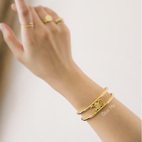 Foto Produk Dear Me - Agustine Bangle (Stainless Steel & 18K Gold Plating) Gelang dari Dear Me Jewelry