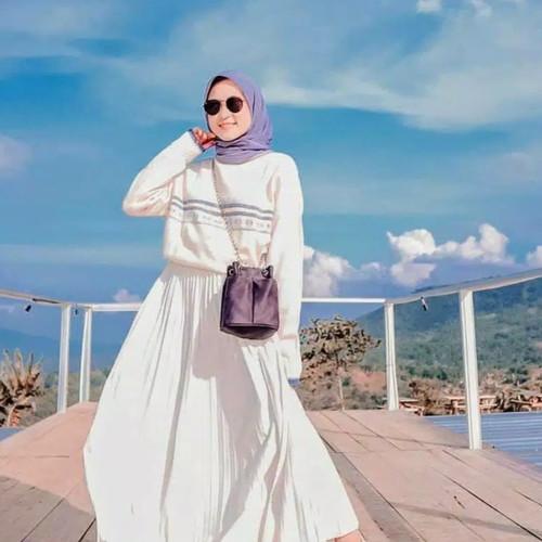 Foto Produk Rok plisket rempel /Rok kerja panjang muslim - Putih dari Anitaqueen