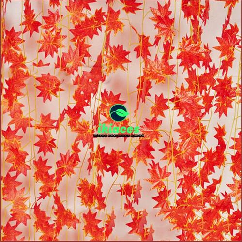 Foto Produk DAUN MAPLE RAMBAT DAUN MERAH DAUN PLASTIK BUNGA PLASTIK BUNGA DEKORASI - 1 Meter dari ikiaces