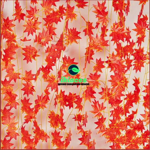 Foto Produk DAUN RAMBAT DAUN MAPLE MERAH DAUN PLASTIK BUNGA PLASTIK BUNGA MURAH - 2 Meter dari ikiaces