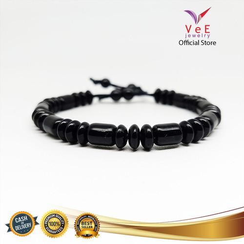 Foto Produk Gelang Batu Giok China Asli Tabung 3 Pipih 6mm - VeE Gelang Tali Pria dari Vee Jewelry