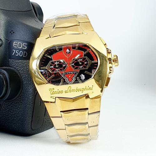 Foto Produk JAM TANGAN PRIA LAMBORGHINI E2156 JAM TANGAN COWOK CHRONO AKTIF - GOLD - Gold Red dari Triple - T