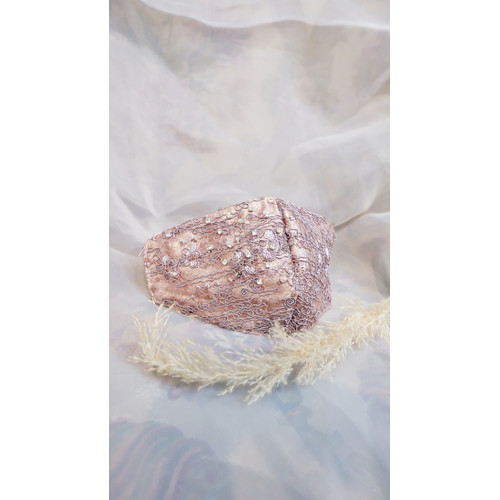Foto Produk Masker Pengantin Handmade Ungu Lilac Premium - Brokat/Bordir/Swarovski dari jakahong studio