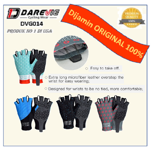 Foto Produk Sarung Tangan Sepeda Cycling Glove DVG014 - Darevie - Blue White, S dari Mideer and Rockbros Indonesia