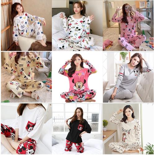 Foto Produk Stelan Piyama Import Wanita Baju Tidur Tangan Panjang Motif Korea - Acak, M dari Acc Perhiasan