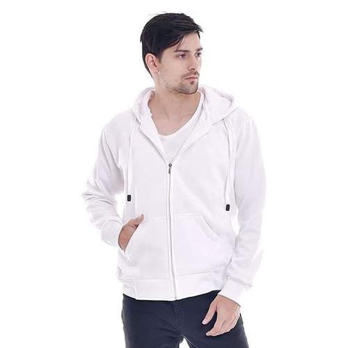 Foto Produk FortKlass Jaket Zipper Polos Pria Kupluk Hoodie Unisex Pria Wanita - Putih, M dari FortKlass
