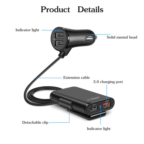Foto Produk Car Charger Mobil Fast Charging 3.1A Qualcomm Quick Charger 4 Port USB dari Metro Cell 11