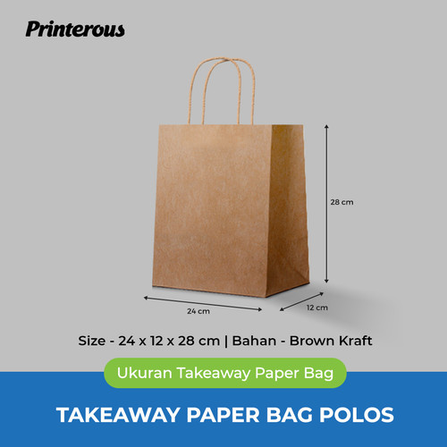 Foto Produk Paper Bag Polos / Kantong Kertas Polos - 24x12x28 cm dari Printerous