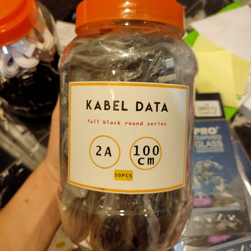 Foto Produk kabel data hitam toples polos murah 2A fast charging dari Hwartzcell