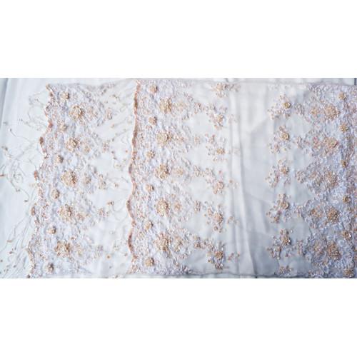 Foto Produk Selendang/Kerudung Pengantin Payet Handmade Putih AB Premium - Bordir dari jakahong studio