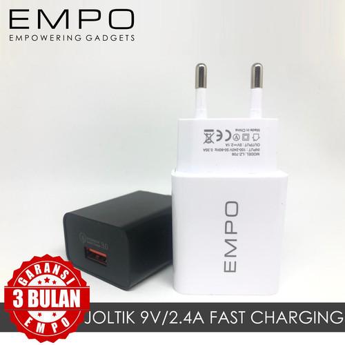 Foto Produk JOLTIK TRAVEL ADAPTOR COLOKAN CHARGER USB 1 PORT FAST CHARGING - HITAM dari EMPO