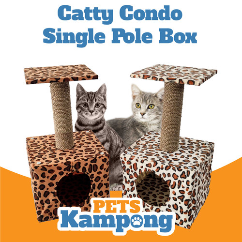 Foto Produk Mainan kucing Cat Condo tree Garukan scratcher tingkat single box - Orange dari Pets Kampong