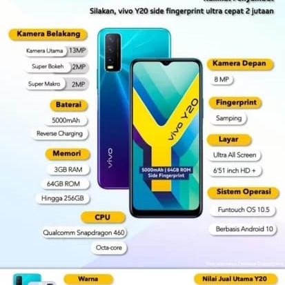 Foto Produk VIVO Y20 3/64 GB GARANSI RESMI VIVO INDONESIA - Putih dari Toko Ammar