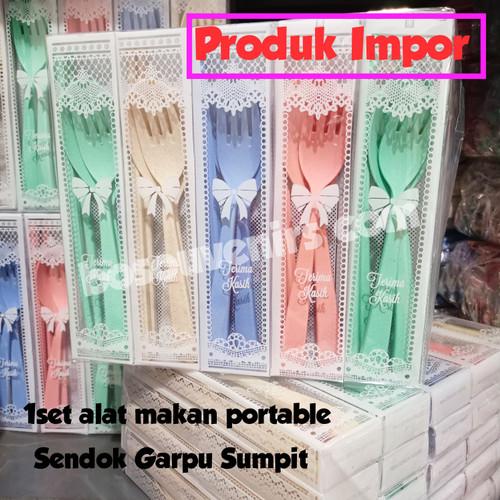 Foto Produk 1set Sendok Travel mika (sendok+garpu+Sumpit)  souvenir pernikahan dari Bosouvenir com