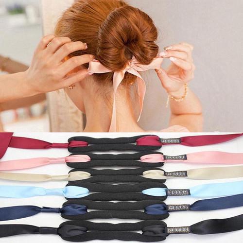 Foto Produk Women Hair Curls Bun Head Band Hair Magic Hair Making Tool Ribbon Bow - Dark Blue dari megagalaxy_mg