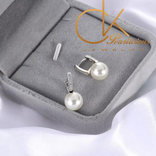 Foto Produk Anting Mutiara Air Laut ASLI/Perak Lapis Emas 18k Import 002 - White dari Ck-Pearlicious jewelry