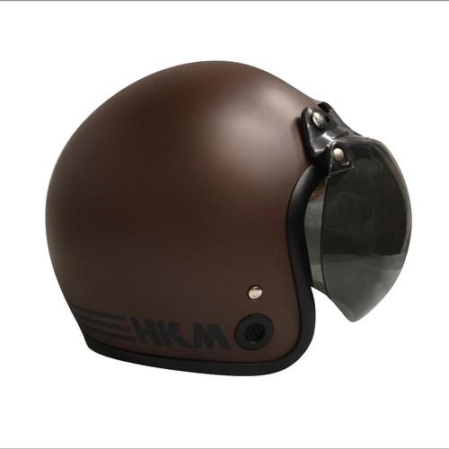 Foto Produk Helm retro HKM Line brown doff (free kaca helm) dari GudangHelm